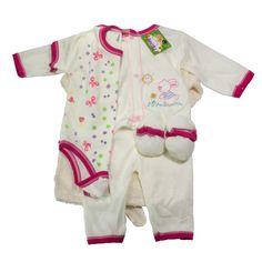 Es un hermoso conjunto para el primer día que nace tu princesa, que brinda confort, calidez, y suavidad. Viene con una bata de baño,  una camisa manga larga, un body manga corta, un pantalón, y unos patines, como se muestra en la imagen. https://nibi-baby-store.pswebstore.com/baby-girl/13-mi-primera-bata-nina.html