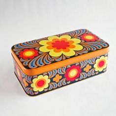 70s Groovy Metal Tin Box from England, Pottery Barn, Urban Outfitters, Crate and Barrel. $20.00, via Etsy.