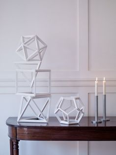 Inspired by century mathematical study aids, these geometric shapes are skillfully made by artist Ron Nelson in the U.then finished in gesso and wax in London. Geometric Solids, Geometric Shapes, Grey Corner Sofa, Geometric Sculpture, Shop Class, Grand Tour, Luxury Furniture, Still Life, Geometry