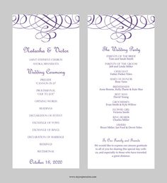 Wedding Program Template – Tea Length- Flourish Calligraphy (Purple)-  Instant Download - Editable MS Word File