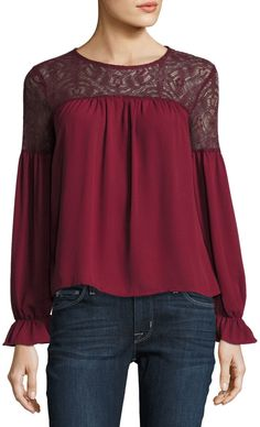 Free Generation Long-Sleeve Lace-Trim Top