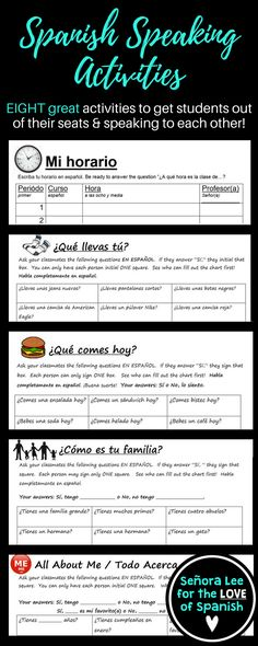 """Spanish speaking activities to get your students out of their seats and speaking with each other completely in Spanish! """"Find someone who"""" activities are great as an ice breaker or as a review at the end of the unit. https://www.teacherspayteachers.com/Product/Spanish-Speaking-Activity-BUNDLE-Find-Someone-Who-2556304"""