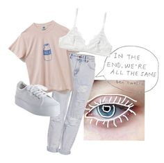 """M I L K"" by flowerpowerxx ❤ liked on Polyvore featuring Pull&Bear, No Name and Monki"