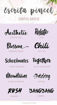 Grátis! Fontes lindas estilo Escrita Pincel! - Sweet Magic Sweet Magic, Better Together, Script, Bullet Journal, Toque, Design, Paint Effects, Hand Written, Brush Pen