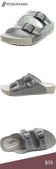 🆕List! Rocket Dog Silver Sparkle Slides! NEW! Two buckle/strap adjustable slides. Synthetic leather. One inch sole, 0.25 inch heel. Size 5. New in box. Rocket Dog Shoes Sandals