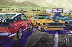 The Champion—automotive fine art watercolor painting by artist Michael Irvine featuring Trans Am Boss 302 at Riverside Raceway in California. Car Interior Paint, Mustang Drawing, Riverside Raceway, Blue Canvas Art, Champion, Vintage Mustang, Mustang Boss 302, Classy Cars, Truck Art
