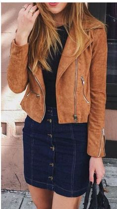 Denim skirt and jacket fashion... pair this jacket with beige coloured shoes and a white shirt