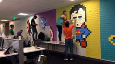 He Was Tired Of Looking At Boring Office Walls, So He Bought 9,000 Post-It Notes. The Result Is Amazing Read more at http://www.sunnyskyz.com/blog/766/He-Was-Tired-Of-Looking-At-Boring-Office-Walls-So-He-Bought-9-000-Post-It-Notes