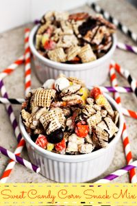 Sweet Candy Corn Snack Mix on MyRecipeMagic.com is a delicious treat the whole family will enjoy! #mix #snack #candycorn