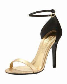 S05HL Alexander McQueen Metallic d'Orsay Ankle-Wrap Sandal
