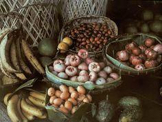 Frutas, Bangkok Foto de Jules Gervais   Em uma imagem autochrome por volta de 1926, de bananas, pomelos e outras frutas nativas estão em exposição em um mercado de produtos em Bangkok, Tailândia (então conhecida como Sião).