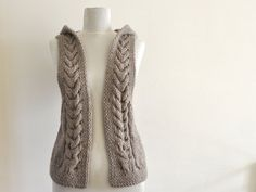 Sweater Vest Hooded Vest Sweater Hand Knit Pale by reflectionsbyds, $80.00