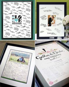 Voici un exemple de livre d'or original pour votre mariage: le « Poster d'or », ou le livre poster d'or. un souvenir à accrocher dans votre appartement, avec des petits mots de vos invités