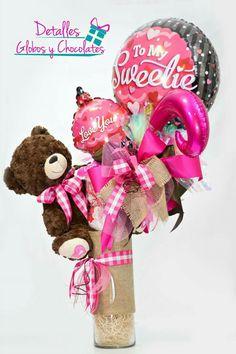 Valentine Bouquet, Valentines Gift Box, Candy Bouquet, Balloon Bouquet, Balloon Delivery, Diy Gift Baskets, Balloon Gift, Heart Crafts, Happy Anniversary