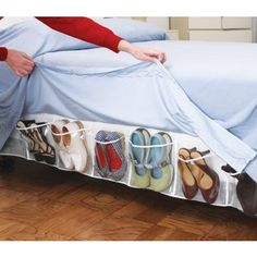 Organizing Bed Skirt @ Dream Products. 16 pocket storage organizer fits under any mattress - gets all that messy clutter off the ground.