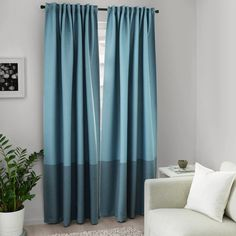 MARJUN Room darkening curtains, 1 pair, blue, Room darkening curtains prevent most light from entering and provide privacy both day and night by blocking the view into the room from outside. Curtains Living Room, Room Darkening, Curtains, Room Darkening Curtains, Living Room Plan, Block Out Curtains, Ikea, Room, Small Apartment Design