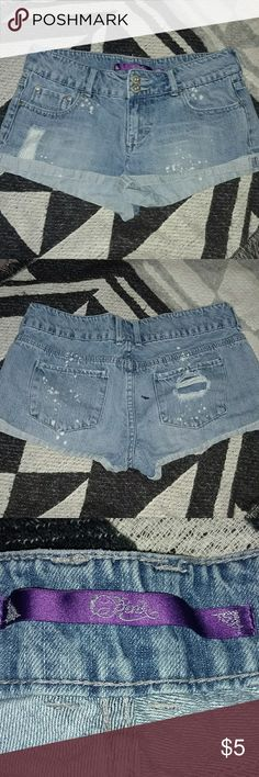 Jean shorts Super cute jean shorts with role up. Double button. There is a spot of black pain on the back and I do not now how to get it out! Price reduced do to that. Smoke free home. ships same day or next :) Cpink Shorts Jean Shorts