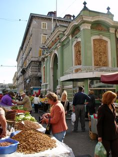 Rijeka's Central Market. The green building in the background is one of three indoor markets, one each for dairy, fish, and meat. Fresh produce (mostly locally-grown) is sold outside on stalls. It's my favourite place to shop in Rijeka!