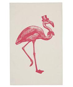 Cream Sophisticated Flamingo Tea Towel -  sold @willowandstone.co.uk
