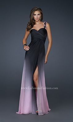 Long One Shoulder Ombre Chiffon Gown at PromGirl.com