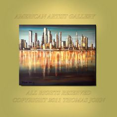 BOSTON SKYLINE Cityscape Original Painting by americanartsgallery, $279.70