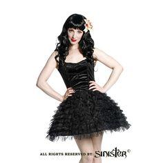 Francis fluwelen mini jurk met kanten tutu rok zwart - Gothic Lolita Halloween