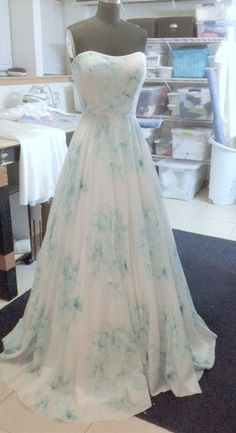 Floral Wedding Dress Watercolor Romantic by FrenchKnotCouture