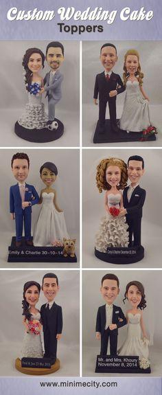 Custom Figurines From Your Photos! Fun Wedding Cake Toppers, Wedding Cake Figurines, Funny Cake Toppers, Personalized Wedding Cake Toppers, Wedding Topper, Custom Cake Toppers, Bride And Groom Cake Toppers, Floral Wedding Cakes, White Wedding Cakes