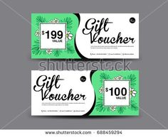 Discount voucher template coupon designticket card designgift gift voucher template layout business flyer design jungle leaf background coupon ticket stopboris Choice Image