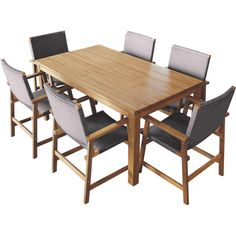 Mimosa 7 Piece Elwood Timber Setting With Wicker Chairs I/N 3191379   Bunnings Warehouse