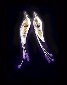 Steampunk earrings, amethyst earrings, watch movement earrings, leaf earrings, silver earrings, rhinestone earrings, magic earrings,OOAK