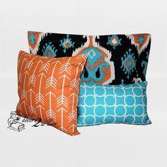 Tangerine & Teal Ikat Custom Designer Teen Girl & Dorm Room Bedding