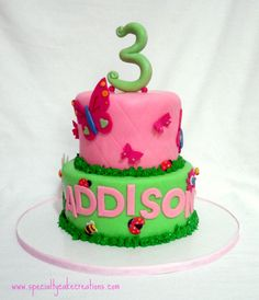 This bright and colorful birthday cake was inspired by the