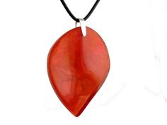 Leaf Resin Pendant Necklace in Orange Marble – Autumn Leaves Inspired Big Handmade Necklace