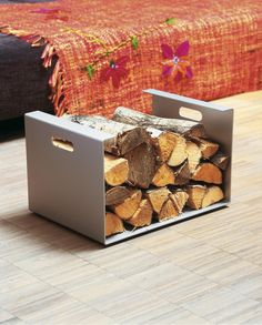 Unobtrusive, elegant and practical at the same time, this is how the Heizer fireplace wood storage from Jan Kurtz presents itself. Designed by Marcus Hanna. Plastic Baskets, Metal Baskets, Fabric Boxes, Fabric Storage, Baby Baskets, Baskets On Wall, Wall Basket Storage, Jan Kurtz