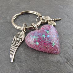 Pink Glitter Resin Key Ring Dragon Fly Angel Wing by TheGemGypsy on Etsy