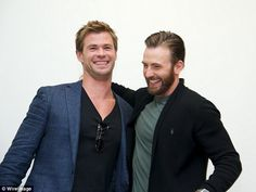 'It is infuriating (how good he is)': Evans is seen here with Chris Hemsworth in April las...