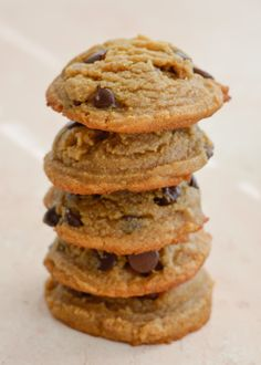 Chocolate Chip Flourless Peanut Butter Cookies - Maebells Ketogenic Desserts, Low Carb Desserts, Low Carb Recipes, Dessert Recipes, Keto Snacks, Cookie Recipes, Healthy Snacks, Healthy Recipes, Flourless Chocolate Chip Cookies