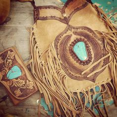 Buffalo Girl wallet & bag set. Gorgeous etched tan leather & beautiful turquoise stones.