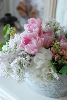 FLORETTA DIARY pink and white lilac, tulip and hydrangea floral arrangement