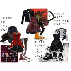 """""""The Holy Trinity of Emo"""" by skeletonqueen-777 on Polyvore<<<< @freehugsanytime Can you even imagine me wearing of these? I can't but totally would. Haha!"""