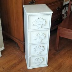 Vintage Painted Shabby Chic Storage Table in by FrugalFortune