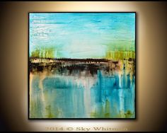 Large Square Framed Painting Original Abstract Art Modern Textured Oil Painting Blue and Coffee Abstract Painting Glossy 37x37 Sky Whitman