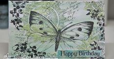 Subtle colors on this birthday card. Love that large butterfly stamp by Art Journey! Een verjaardagskaart in subtiele kleuren. Die gr...