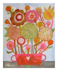 Orange and citric flowers.Original art painting flowers, bohemian, folk, naive, primitive.