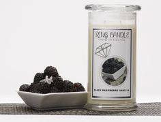 Our Black Raspberry Vanilla Jewelry Candle is a luscious blend of raspberries, strawberries, coconut lemon, peach and vanilla.       Each Jewelry Candle comes with a hidden jewel within it that has a value from $10 to $7500!  You could get a ring, bracelet, anklet, pendant or necklace inside your Jewelry Candles!  What will you find in your Jewelry Candle ?!