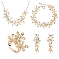2014 New Fashion Jewelry for Women 18K Gold Plated Austrian Crystal Flowe Necklace&Bracelet&Earrings&Ring Wedding Jewelry Sets $50.88