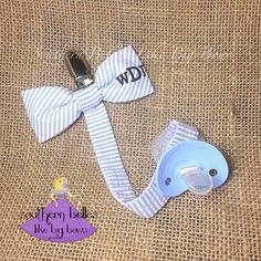 Baby boy gift monogrammed bow tie pacifier clip personalized baby personalized baby gift gift for baby seersucker pacifier by belleslikebigbows etsy negle Images