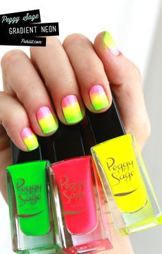 Neon gradient nails. Good beach nails?