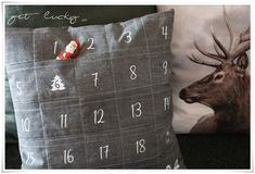 get lucky: ✰ Adventskalender-Kissen ✰ Throw Pillows, Inspiration, Advent Calendar, Xmas, Pillows, Biblical Inspiration, Cushions, Decor Pillows, Decorative Pillows